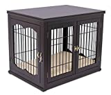 BIRDROCK HOME Decorative Dog Kennel with Pet Bed - Small Dog - Double Door - Wooden Wire Dog House - Indoor Pet Crate Side Table (Espresso)