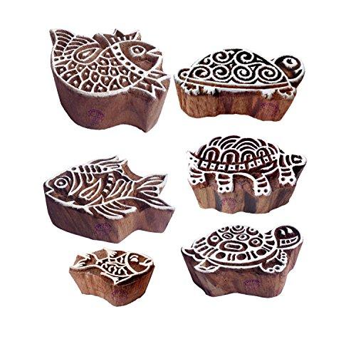 Handgemacht Muster Schildkröte und Fisch Holz Blöcke Stempel (Set von 6)