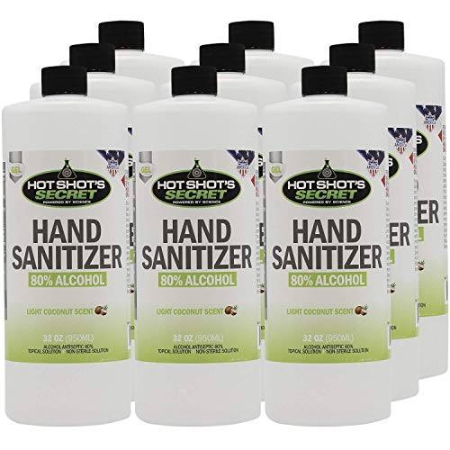 80% Alcohol GEL Hand Sanitizer - Antibacterial Formula Kills Germs - Made in USA - 32 OZ/12 Pack
