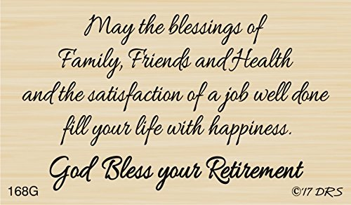 God Bless Retirement Greeting Rubber Stamp by DRS Designs Rubber Stamps