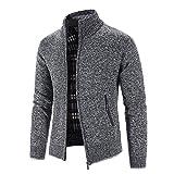 chejarity cardigan classic - maglione invernale da uomo, con colletto alto e chiusura lampo, con zip, per mezza stagione, giacca invernale, grigio scuro, l