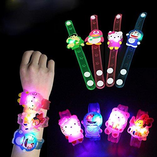 Jiada Cartoon Characters LED Light Bracelets Birthday Return Gifts for Kids (Set of 12)