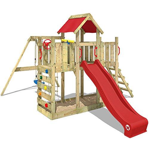 WICKEY Spielturm TwinFlyer Kletterturm mit Schaukel, Rutsche, Sandkasten mit Zubehör-Komplettset, rote Rutsche + rote Dachplane
