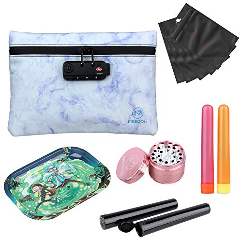FIREDOG Smell Proof Bag Kit - 5 Items - Carbon Lined Smell Proof Pouch with Lock Odor Proof Case Container, 2' Herb Grinder, Metal Rolling Tray, 4x Doob Tube, 5x Resealable Mylar Bag