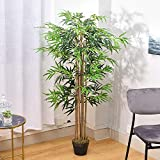 The Fellie Artificial Tree Artificial Bamboo Tree 150cm (5ft) Fake Decorative Plants with Plastic Pot for Home, Office, Lobby, Restaurant
