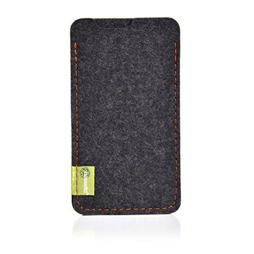 """Almwild® Hülle Tasche für Apple iPhone SE (2020), iPhone 8. Modell """"Dezenzi"""" in Schiefer- Grau, Schwarz aus Natur- Filz. Handyhülle Handytasche in Bayern handgefertigt"""