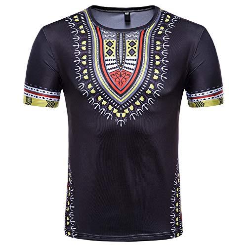 CFWL T-Shirt à Manches Courtes Imprimé en 3D Floral De Style Ethnique CréAtif pour Hommes De La Mode DéContractéE D'éTé Coton Produit De Qualité Chemise à Manches en Flanelle Tissu Noir M