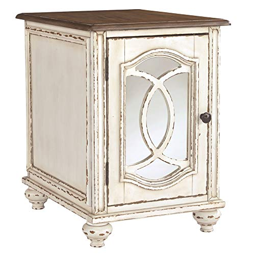 Signature Design by Ashley - Realyn Chairside End Table, White/Brown Wood