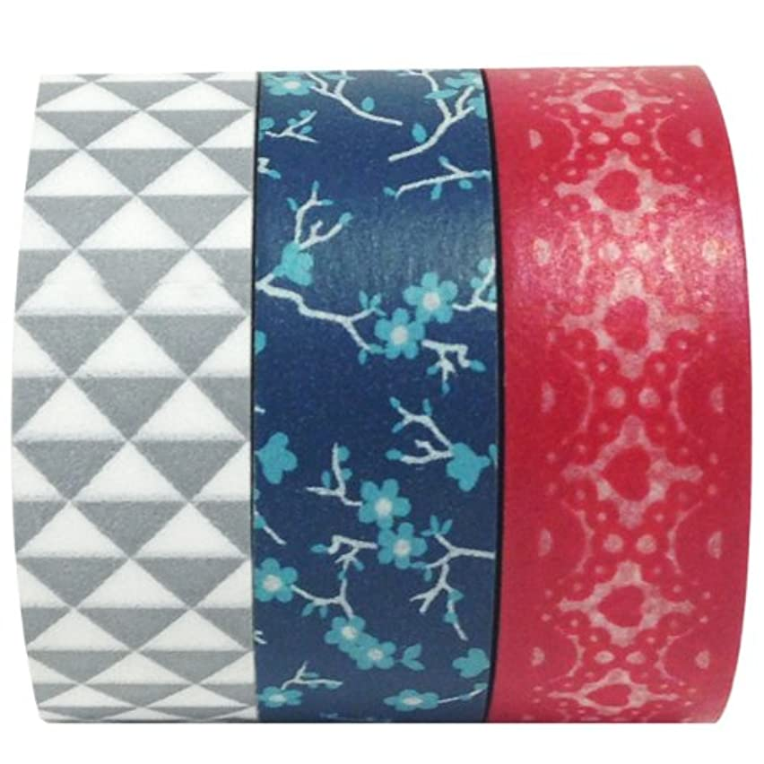 Wrapables Washi Masking Tape, 10M by 15mm, Red, White and Blue, Set of 3