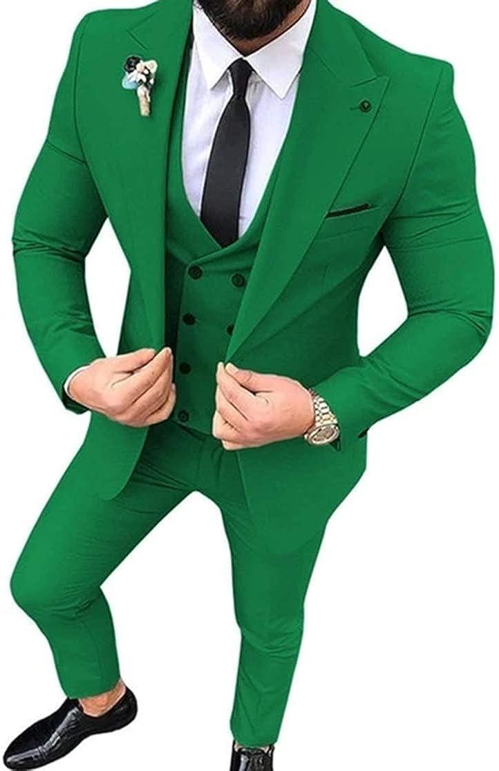 RONGKIM Men's Suits 3 Pieces Notch Lapel Slim Fit Blazer Casual Best Men Tuxedos for Wedding
