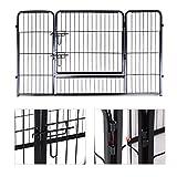 Songmics Welpenauslauf für Hunde Kaninchen kleine Haustiere 122 x 70 x 80 cm schwarz PPK74H - 6