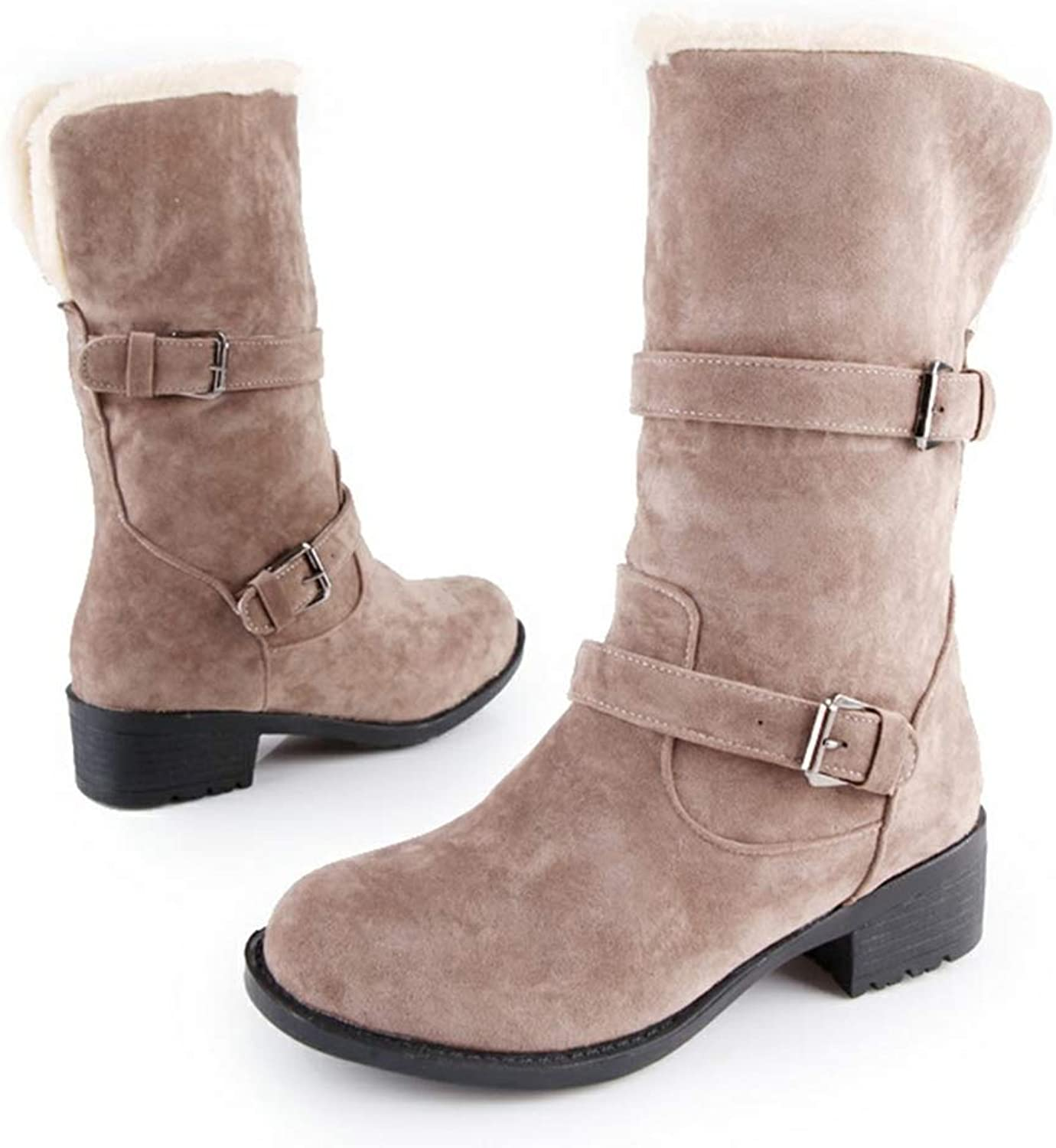 Hoxekle Mid Calf Boots Winter shoes Woman Slip On Boots Women shoes Chunky Heels Add Plush Black Snow Boots