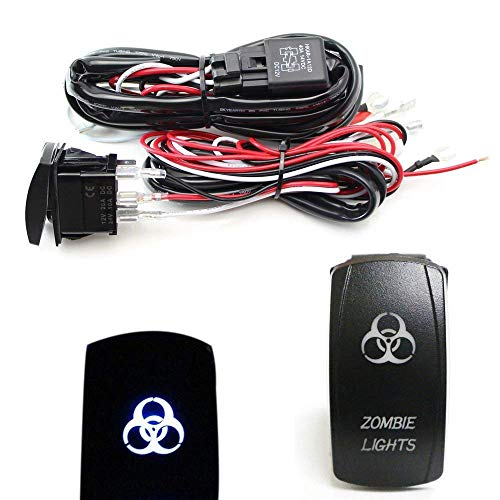 iJDMTOY 2-Output Universal Relay Wiring Harness Zombie Lights Blue LED Light ON/OFF Rocker Switch, Compatible With Off-Road LED Light Bar, LED Pod Lights, Aftermarket Fog Lights, Driving Lights, etc