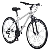 Schwinn Network 3.0 Mens Hybrid Bike, 700c Wheels, 21-Speed, 18-Inch Frame, Alloy Linear Pull Brakes, White
