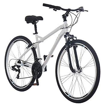 Schwinn Network 3.0 Mens Hybrid Bike 700c Wheels 21-Speed 18-Inch Frame Alloy Linear Pull Brakes White