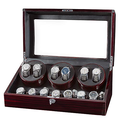 JQUEEN Watch Winder for Automatic Watches,Watch Winders 6 with 7 Storages,Quiet Japanese Motors with Soft and Flexible Watch Pillows
