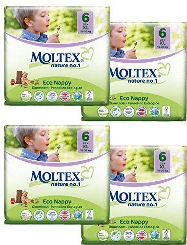 Packung mit 4 Moltex XL Windeln Größe 6 (88 Windeln)
