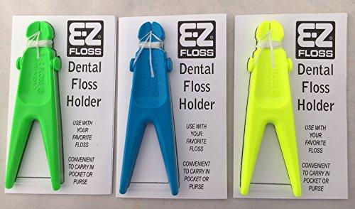 E-Z Floss Dental Floss Holder (Blue, Yellow, Green)