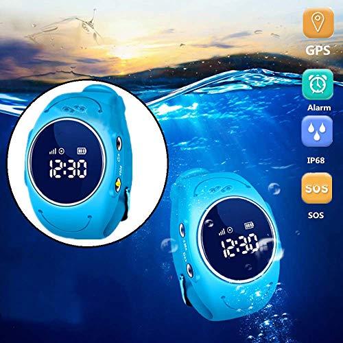 GSU Die intelligente GPS-Telefon-Uhr des Kindes mit Super-IP68 imprägniern, Verfolger mit Geschichte spürt Warnungs-Telefon-Schlaf-Überwachung auf und stützt Frequenzband 2G,Blau