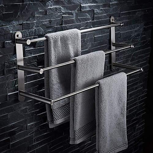 MJIAD 304 baño de Acero de Tres Capas de Toallas de baño higiénico Multicapa toallero Barra de Acero Colgante YUSI (Size : 60cm)