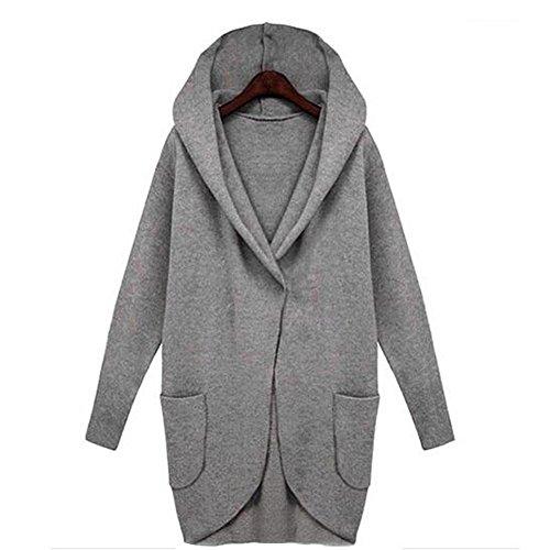 GWCSS Veste En Manches Longues D'Automne Et D'Hiver En Vrac Manteau De Couleur En Laine De Grande Taille , Deep Grey , 3Xl