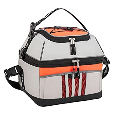 MIER 30 Can Cooler Bag Large Insulated Picnic Lunch Tote Bag, Square Cooler with leakproof liner, Grey