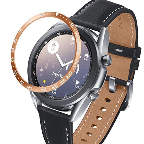 DLCYMY Para Samsung Galaxy Watch 3 41 mm 45 mm bisel anillo cubierta protectora adhesivo anti arañazos bisel de acero inoxidable (color de la correa: oro rosa, ancho de la correa: 41 mm)