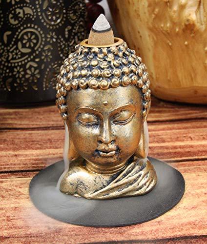 Ebros Eastern Enlightenment Shakyamuni Buddha Gautama Head with Ushnisha Backflow Incense Cone Burner Holder Statue 3.5' H in Bronze Finish Buddhism Bodhisattva Feng Shui Zen Figurine