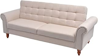 vidaXL Convertible Sofa Bed Fabric Cream Couch Daybed Futon Sleeper Chester