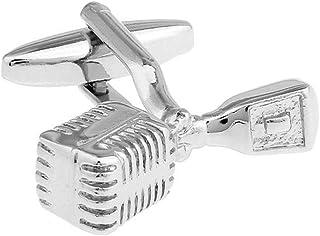NINAINAI Modern Silent Wall Clock Micrófono Hombres Pliegues de Metal Plateado de Acero Blanco puños, Hombres de Negocios ...
