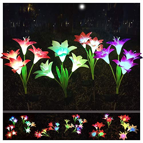Solar Flower Light Outdoor,Color Glow Lights,Garden Stake Lights Waterproof Decorative,4 Pack with 16 Bright Lilies Solar Flowers for Garden, Patio, Yard Pathway, Cemetery
