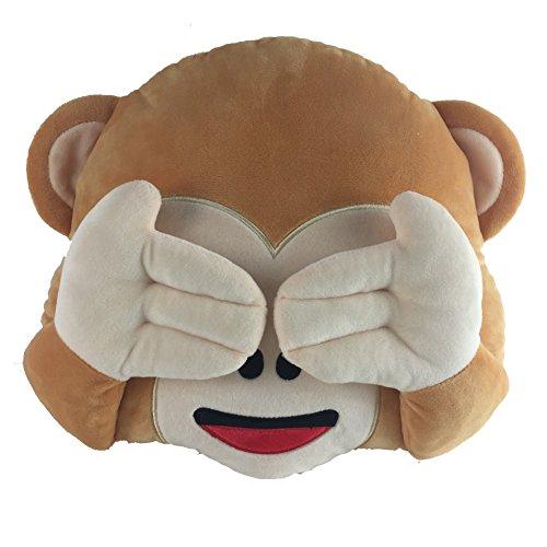 Batedan New No Speaking No Looking No Listening Emoji Monkey Pillow Cushion Stuffed Monkey Plush Toys