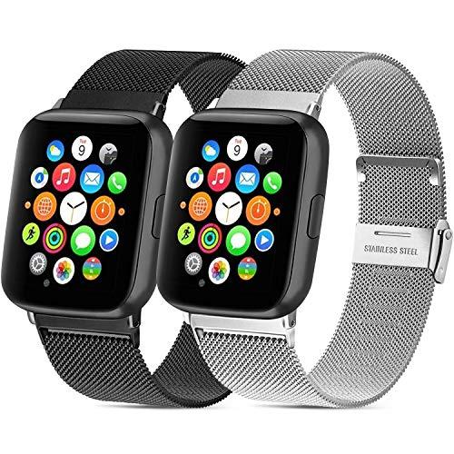 Mugust 2 Pack Kompatibel für Apple Watch Armband 42mm 44mm 38mm 40mm, Metall Edelstahl Ersatz Armband Kompatibel mit iWatch Series SE/6/5/4/3/2/1 (01 Schwarz/Silber, 42mm/44mm)