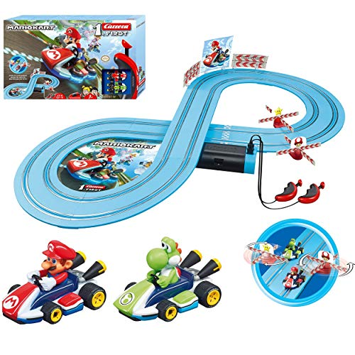 Carrera First Mario Kart - Slot Car Race Track With Spinners - Includes 2 Cars: Mario and Yoshi - Battery-Powered Beginner Racing Set for Kids Ages 3 Years and Up