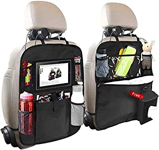 Car Back Seat Organizer, 2 Pack of Oxford Waterproof Car Seat Protector with Touch Screen Tablet Holder, Multi-Pocket Car ...
