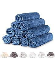 Twinzen - 10 x små handdukar set 30 x 50 cm, mörkblå - handduk, badrumstillbehörsset, små badrumshanddukar, handdukar för badrum små, handdukar kök