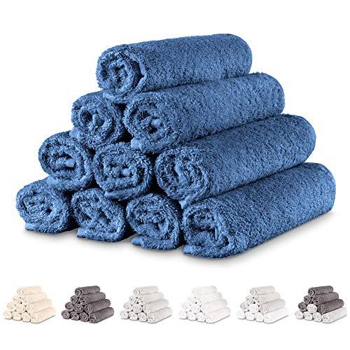 Twinzen - 10 x Pequeñas Toallas de Mano 30x50 cm. Azul Oscuro. Toallas de Baño para Mano, Esponja, Set de Baño, Juego de Toallas de Mano, pequeñas Toallas de Mano para el Lavabo