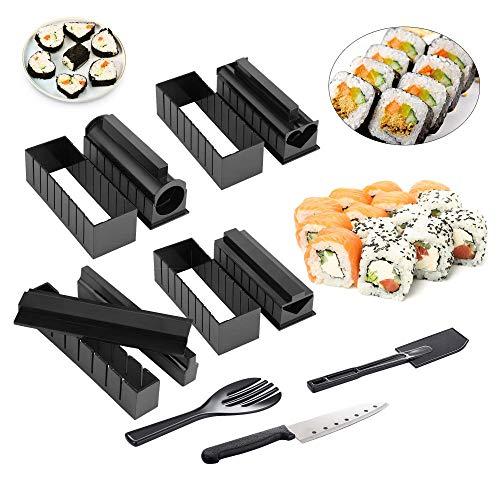 Kit per la produzione di sushi per principianti, set completo da 11 pezzi con 8 stampi per rotoli di riso e 3 spatole e forchetta, strumento per sushi fai da te