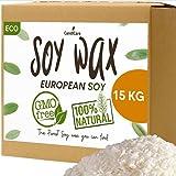 Cera de soja 15 kg – Copos de calidad profesional – 100 % natural sin OGM ecológico y vegetal – CandlCare marca francesa – para fabricación de velas fundidas, masajes y fondant