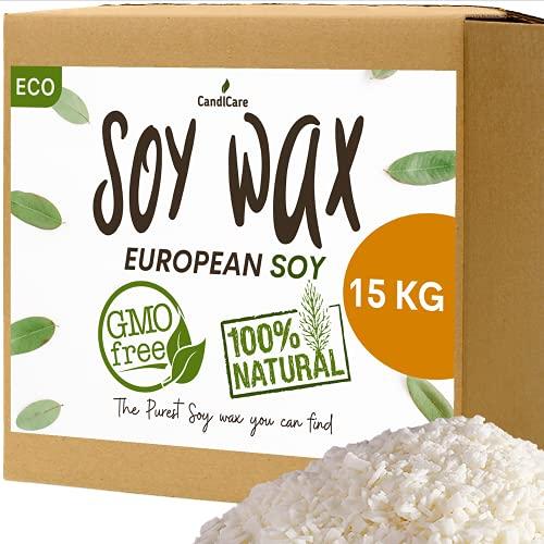 CandlCare Cera di soia 15KG - in Fiocchi qualità Professionale - 100% Naturale Senza OGM Ecologico e Vegetale - per Fabbricazione Candele, Massaggi e fondenti Marchio Francese