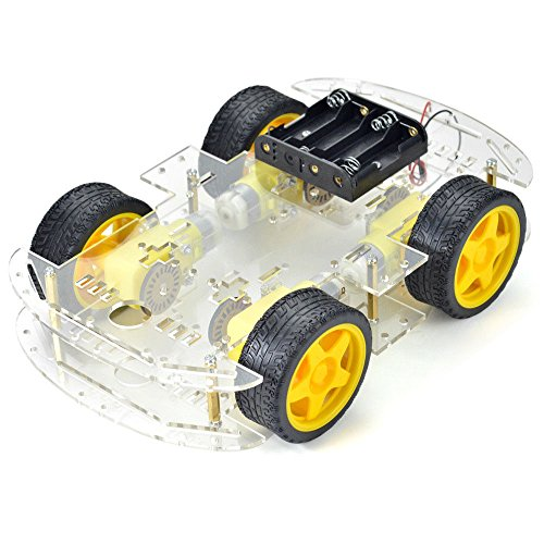 DollaTek Smart Motor Robot Car Battery Box Kit de Chasis Speed ​​Encoder para Arduino -Cuatro Llantas