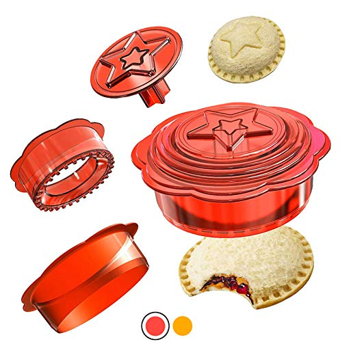 Pack of 6 Sandwich Cutter and Sealer, Uncrustables Decruster Sandwich Maker, Round Kitchen Gadgets Sandwich Cutters for Kids, Boys and Girls, Great for DIY Lunchbox and Bento Box, Red