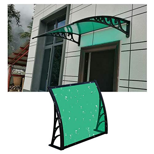 JIANFEI Marquesina Puerta Exterior, Personalizable Policarbonato Patio Evitar UV Cubrir, Exterior Montado En La Pared Lluvia Nieve Refugio, Soporte De Aluminio (Color : Green, Size : 60X120CM)