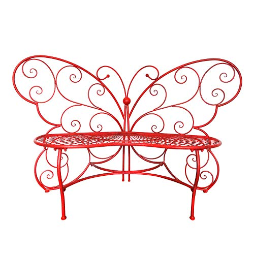 red butterfly metal bench