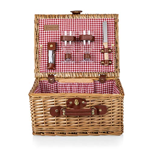 PICNIC TIME Classic Wicker Wine and Cheese Basket with Service for Two, Red/White Check