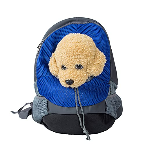 GUANXIL Bolso Porta Mascotas Sling, Mochila de Perros Gatos, Bolsa de Mensajero, Hombro Acolchada Ajustable Tote Bag,Actividades al Aire Libre (S,Blue)