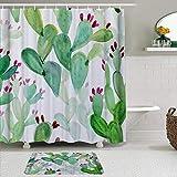 vhg8dweh Ensembles de Rideaux de Douche de Marque avec Tapis,Cactus Fleurs succulentes Printemps Jardin Boho Style Bouquet de Plantes épineuses Fleurs,avec 12 Crochets