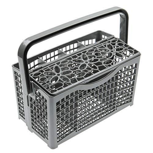 vhbw Cesta de cubiertos universal para la bandeja inferior de lavavajillas por ej. Miele, Bosch, Siemens - 23 x 13cm, divisible, decoración floral