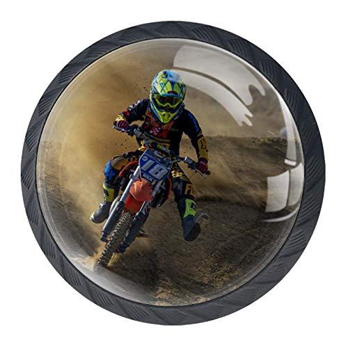 Pomolo comò Motocross set da 4 pezzi rotondo pomello in plastica a tiretto per mobili cassetti per camerette cassettiera con viti 3.5×2.8CM
