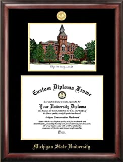Campus Images Michigan State University, Linton Hall, Gold embossed diploma frame lithograph